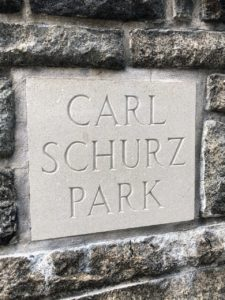 The sign at one of the entrances to Carl Schurz Park.