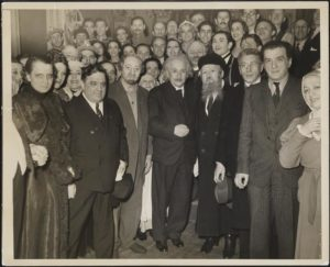 Albert Einstein and Mayor Fiorello La Guardia with the Playwright and Cast from The Brothers Ashkenazy. Photo by an unknown artist.
