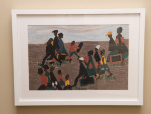 Depictions of black families during the Great Migration in which many moved from the South to the North.