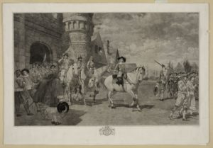 In this fanciful depiction of the Dutch surrender of New Amsterdam to English invaders in 1664, Stuyvesant is shown mounted on the white horse at center.
