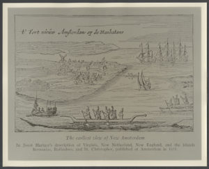 This earliest known view of the town of New Amsterdam also shows Lenape canoes, Native vessels widely adopted by Dutch settlers and enslaved Africans for travel on local waters. Courtesy of the Library of Congress.