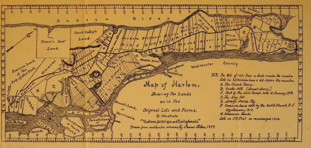 Map showing colonial farms in northern Manhattan