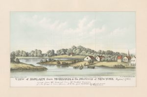Harlem remained a rural village for a long time, as suggested by this eighteenth-century view from across the river in the South Bronx. The Dutch Reformed Church, founded by villagers in 1665, is shown at right, as is the ferry landing first operated by Matthys, the enslaved man owned by tavernkeeper Johannes Verveelen, at right center. Courtesy of the New York Public Library Digital Collections.