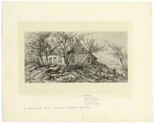 """This """"quaint old stone house"""" at East 84th Street just west of Second Avenue stood on one of the ten lots comprising the Hoorn's Hook farm. Built during the 1750s, it originally belonged to members of the Waldron family. This nineteenth-century depiction evokes the area's still-rural terrain before urban development remade the area in the 1880s, and suggests how other early Dutch and Dutch-influenced farmhouses in northern Manhattan probably looked. The original drawing by Eliza Greatorex dates from 1875. Courtesy of the New York Public Library."""