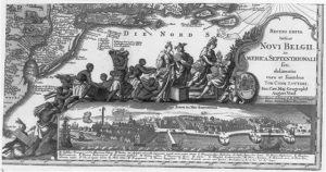A view of New Amsterdam shortly after it became New York City adorns the bottom of this eighteenth-century map of the North American coast. Enslaved Africans, a source of labor and wealth for white colonists, are shown above. Courtesy of the Library of Congress.